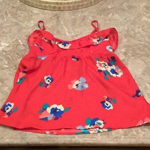 American Eagle red floral baby doll tank.
